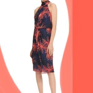 Holter Neck Wrap Dress with Bow